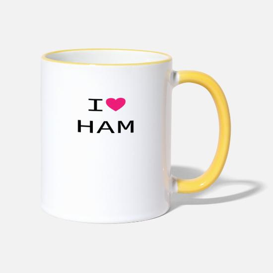 Love Mugs & Drinkware - I love HAM - Two-Tone Mug white/yellow