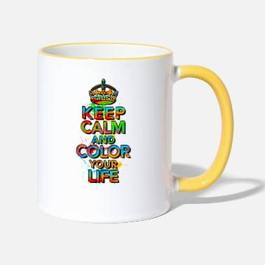 KEEP CALM, music, cool, text, sports, love, retro - Two-Tone Mug