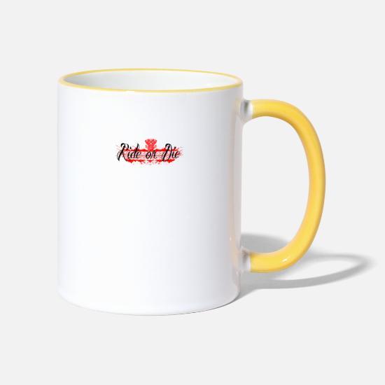 Birthday Mugs & Drinkware - birthday gift ride or the motorcycle engine bo - Two-Tone Mug white/yellow