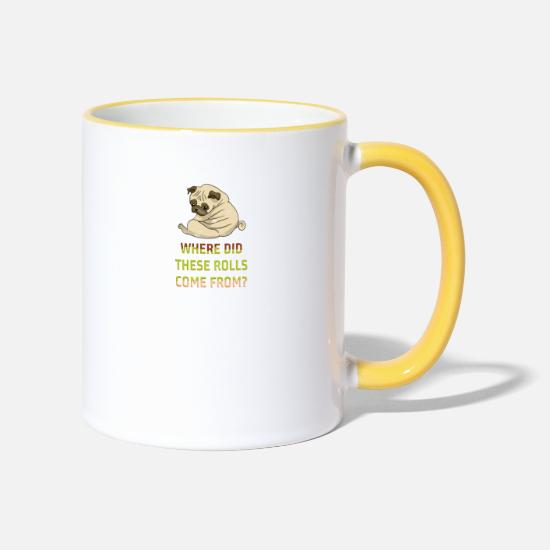 Pug Mugs & Drinkware - Fat Pug - Two-Tone Mug white/yellow