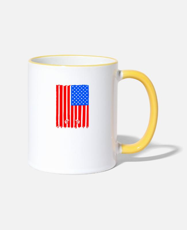 Prison Mugs & Drinkware - The US is a jail - Two-Tone Mug white/yellow