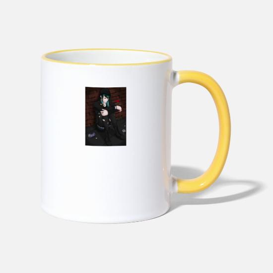 Manga Mugs & Drinkware - sadangle - Two-Tone Mug white/yellow