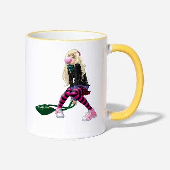 Cosplay Mugs & Drinkware - manga girl - Two-Tone Mug white/yellow
