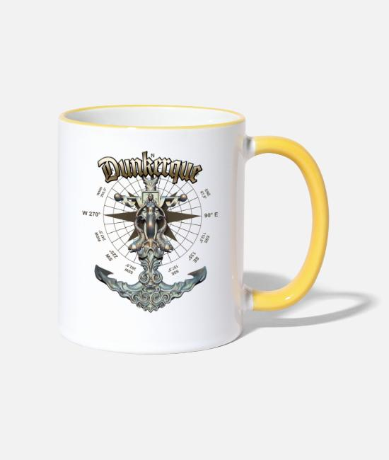 Diver Mugs & Drinkware - Dunkerque Anchor Nautical Sailing Boat Summer - Two-Tone Mug white/yellow