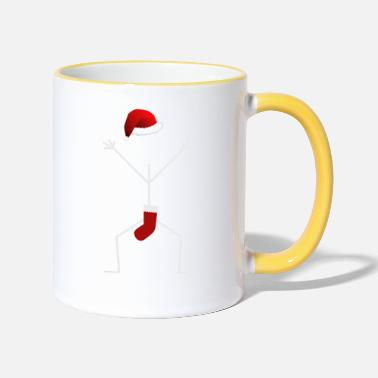 Stick Man Funny Stick Man Christmas Santa Stick Man Design - Contrasting Mug