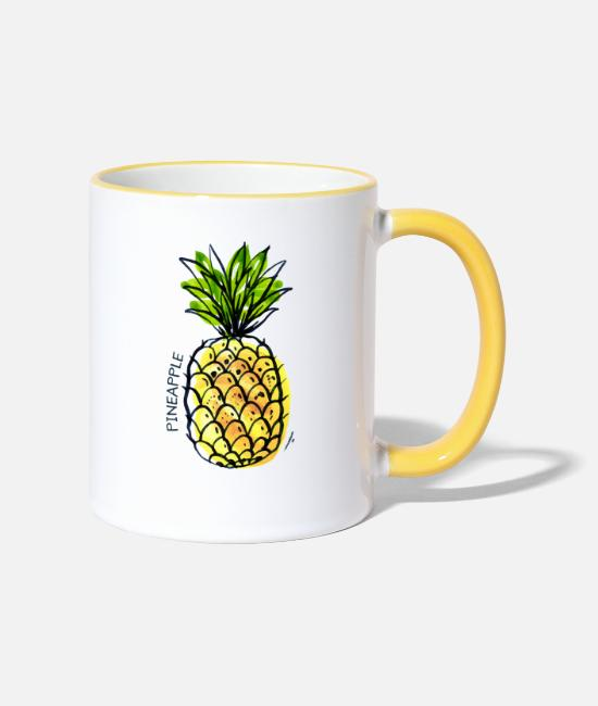 De Fruits Mugs et tasses - Fruit d'ananas Fruits Fruit d'ananas - Mug bicolore blanc/jaune