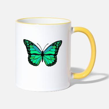 Beautiful Butterfly green caterpillar. Beautiful summer - Two-Tone Mug