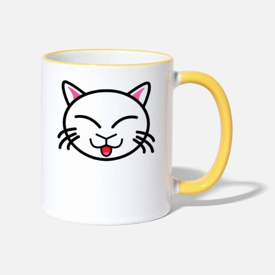Gift Idea Mugs & Drinkware - Naughty cat - Two-Tone Mug white/yellow
