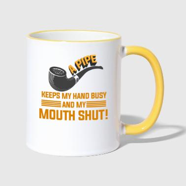 Bless You Smoking - A pipe keeps my hand busy - Contrasting Mug