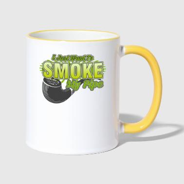 Bless You Smoking - I just want to smoke my pipe - Contrasting Mug