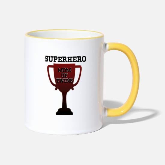 Gift Idea Mugs & Drinkware - Superhero Mom of Twins - Two-Tone Mug white/yellow