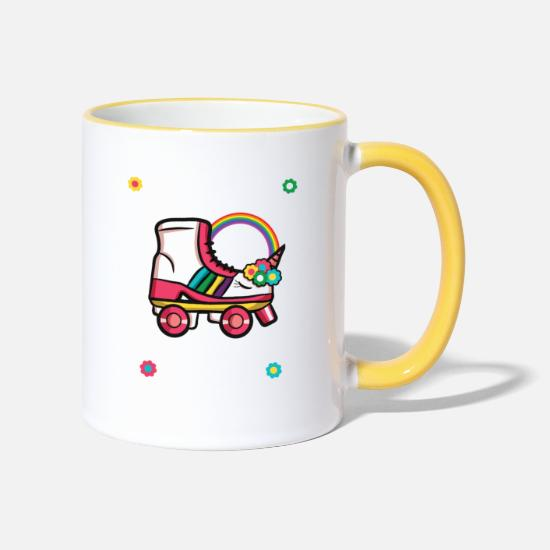 Birthday Mugs & Drinkware - Roller Girl Rollerblades Skates Unicorn Gift - Two-Tone Mug white/yellow