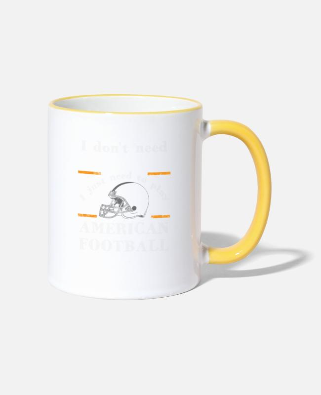 Gym Wear Mugs & Drinkware - Better than therapy is just American football - Two-Tone Mug white/yellow