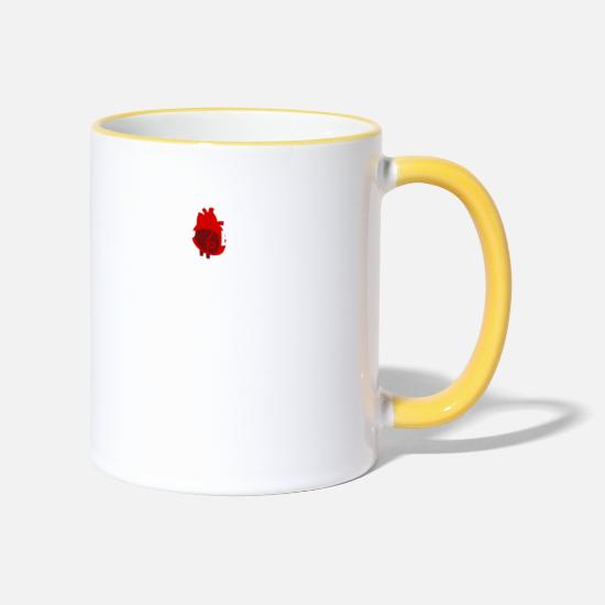 Gift Idea Mugs & Drinkware - My (heart) belongs to a physiotherapist - Two-Tone Mug white/yellow