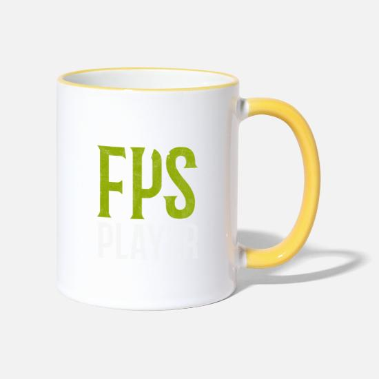 Geschenk Tassen & Becher - FPS Player First Person Shooter Ego Shooter Gaming - Tasse zweifarbig Weiß/Gelb