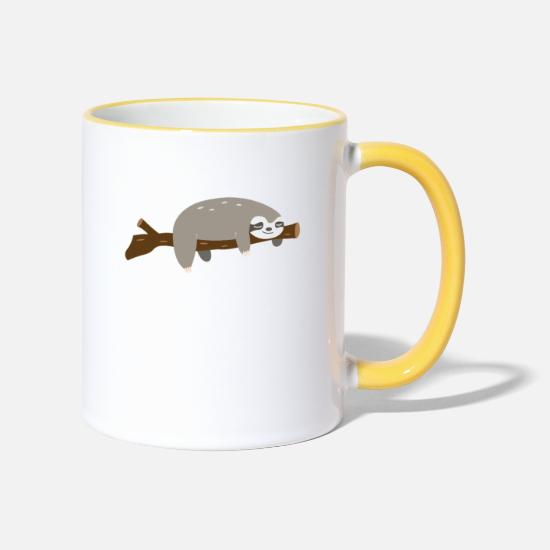 Branche Mugs et récipients - Funny sloth gift chill out branch relax - Mug bicolore blanc/jaune