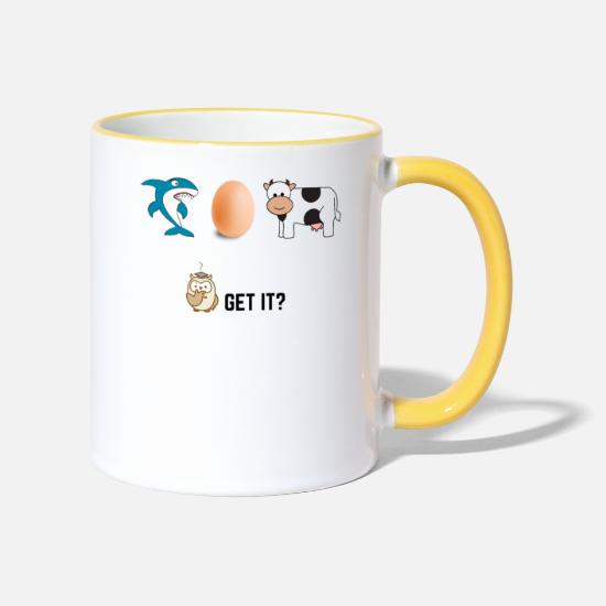 Birthday Mugs & Drinkware - Funny saying Shark Egg Cow Science IQ intelligence - Two-Tone Mug white/yellow