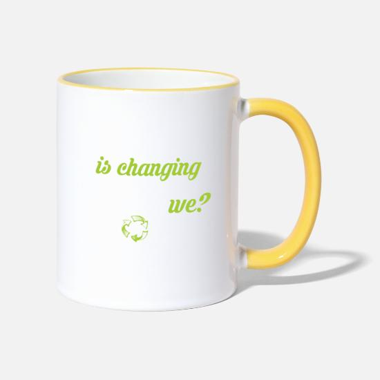 Save The World Mugs & Drinkware - Climate Change Earth Recycling Nature Gift - Two-Tone Mug white/yellow