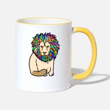 Leo Lion lion predator wild animals tiger - Two-Tone Mug