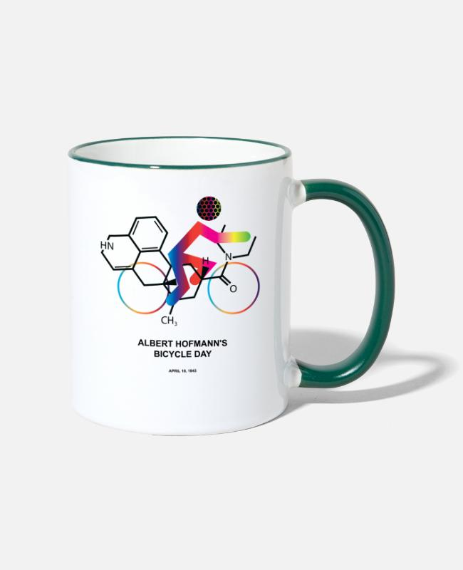 Trippy Mugs & Drinkware - Albert Hofmann's Bicycle Day - Two-Tone Mug white/dark green