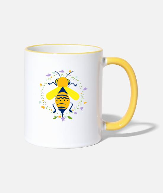 Bumble Bee Mugs & Drinkware - Bee with flowers - Two-Tone Mug white/yellow
