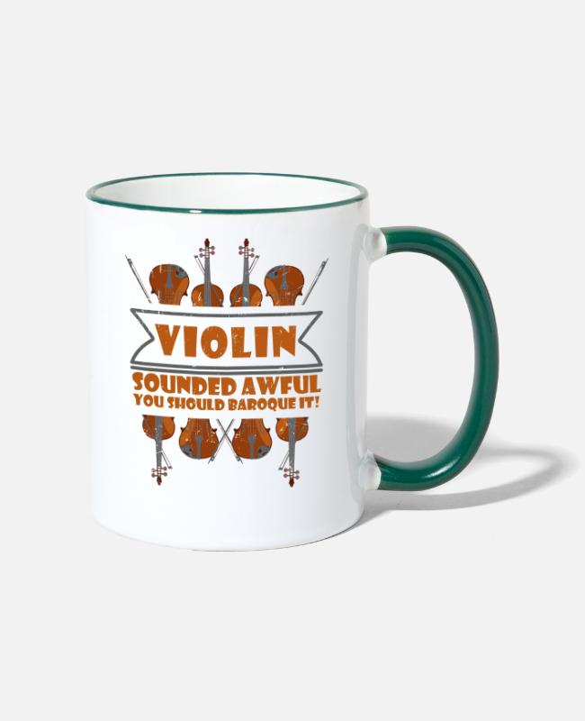 Fidel Mugs & Drinkware - With four violins - fiddle - Two-Tone Mug white/dark green