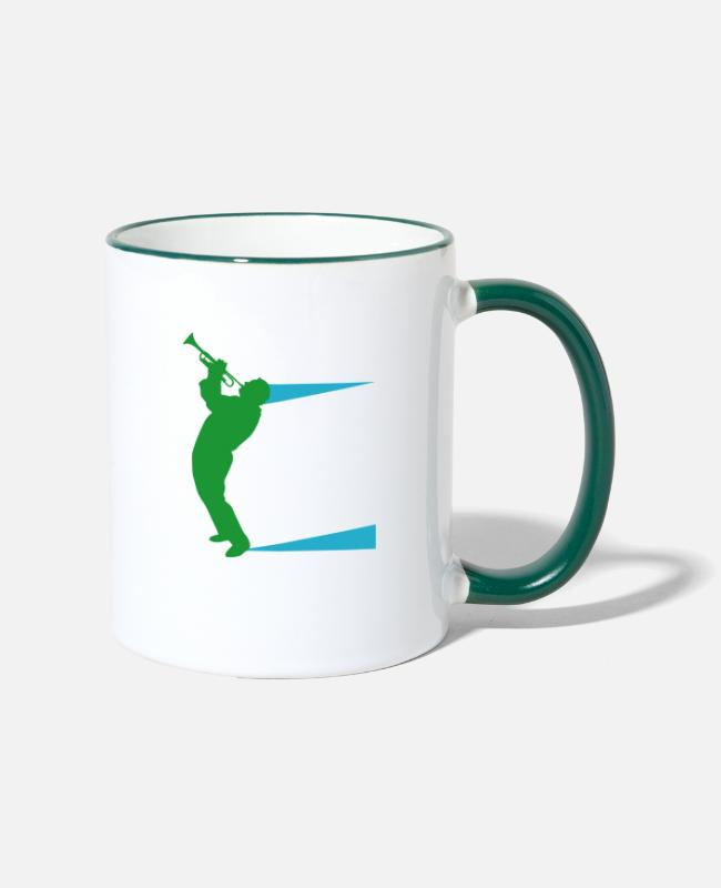 Baroque Trumpet Mugs & Drinkware - Here Comes Treble! - Trumpet - Two-Tone Mug white/dark green
