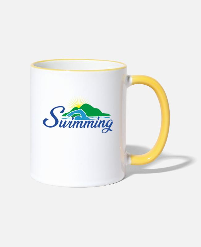 Outdoor Swimming Pool Mugs & Drinkware - Swimmer In Front Of An Island - Swimming - Two-Tone Mug white/yellow