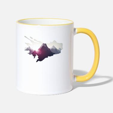 Mountains in comic style - mountaineering - Two-Tone Mug