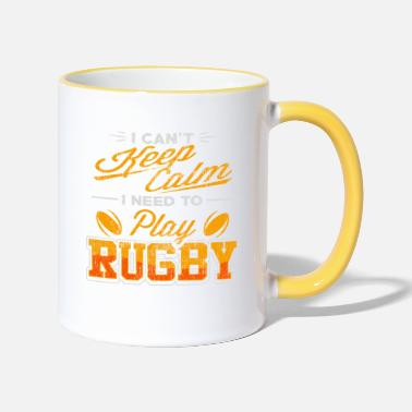 Two rotating rugby balls - rugby - Two-Tone Mug