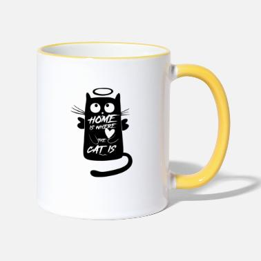 a cat's friend - Two-Tone Mug