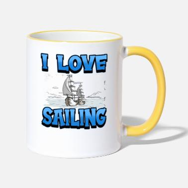 Cruise Sailing sailing ship ocean boat saying gift - Two-Tone Mug
