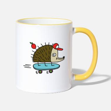 Funny Collection Skater Igel by cheslo - Contrasting Mug