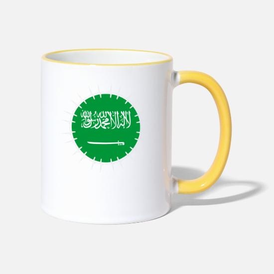 Love Mugs & Drinkware - Love Heartbeat ECG Home Holiday Roots Saudi Ara - Two-Tone Mug white/yellow