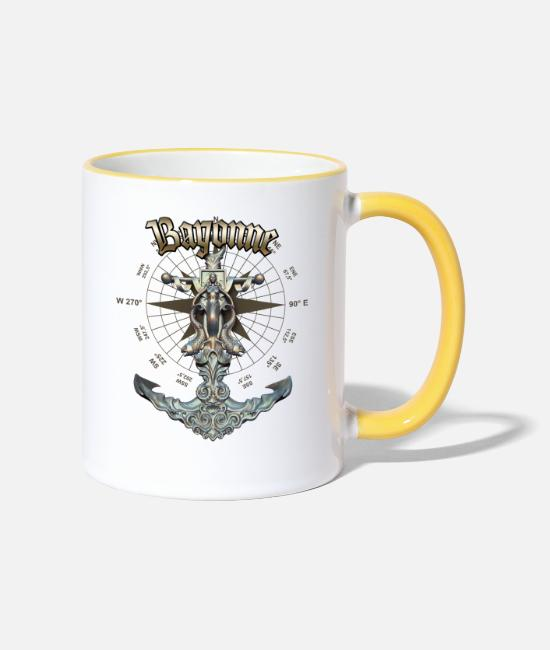 Diver Mugs & Drinkware - Bayonne Anchor Nautical Sailing Boat Summer - Two-Tone Mug white/yellow
