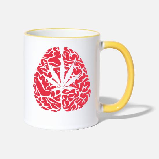 Love Mugs & Drinkware - Brain - Two-Tone Mug white/yellow