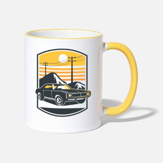 Country Mugs et récipients - Voiture de muscle - Mug bicolore blanc/jaune