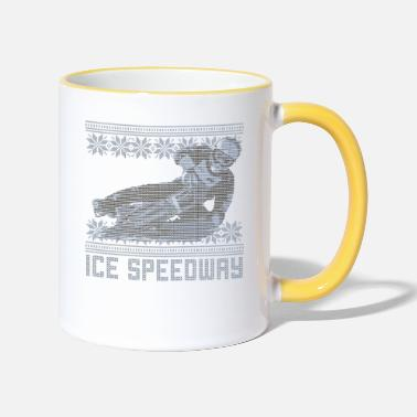 Speedway Ugly Sweater Ice Speedway Design - Two-Tone Mug
