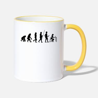 Office Evolution to Worker T-Shirt Gift Office Job - Two-Tone Mug