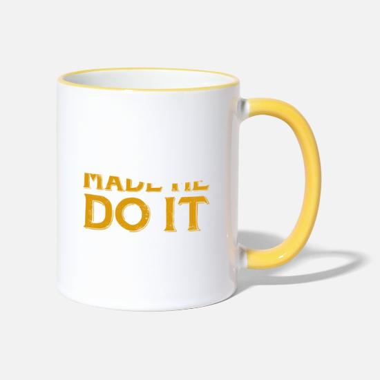 Birthday Mugs & Drinkware - Funny Whiskey Made Me Do It - Two-Tone Mug white/yellow