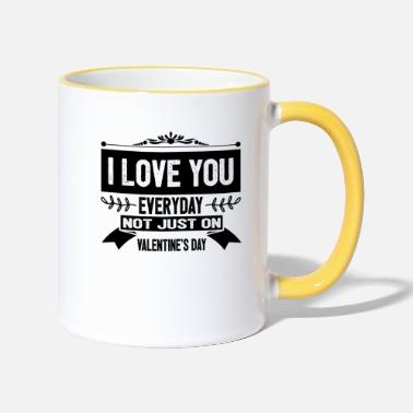 Valentines Day I LOVE VALENTINES love - Two-Tone Mug