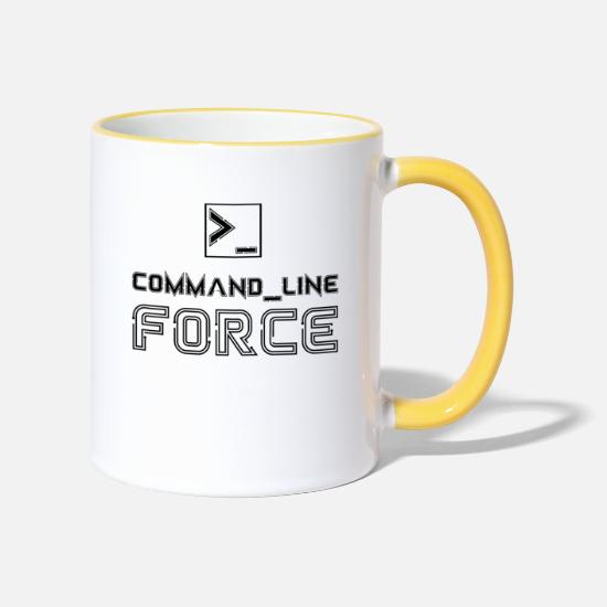 Program Mugs & Drinkware - Command Line Force Programmer Computer Terminal - Two-Tone Mug white/yellow