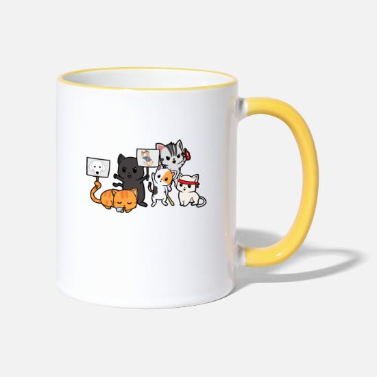 Gift Idea Mugs & Drinkware - Cats demo riot riot demonstration - Two-Tone Mug white/yellow