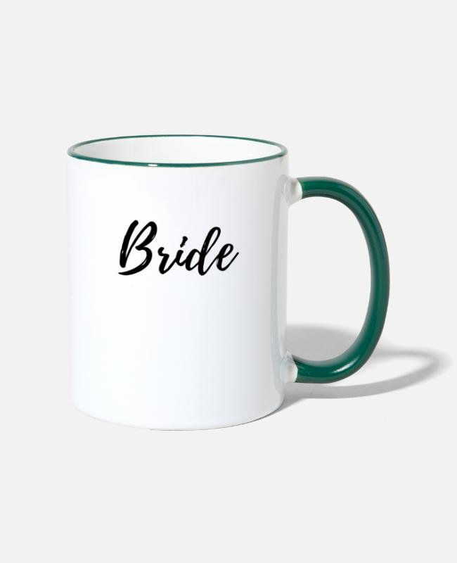 Wedding Mugs & Drinkware - Bride, Bride - Two-Tone Mug white/dark green