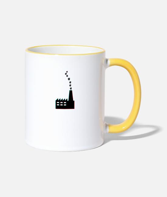 Factory Mugs & Drinkware - Hashtag factory - Two-Tone Mug white/yellow
