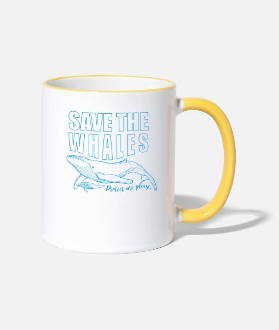 Save The Whales Mugs & Drinkware - Save the whales - Two-Tone Mug white/yellow