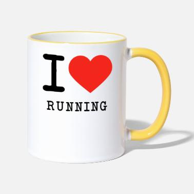 Love I love running - Two-Tone Mug