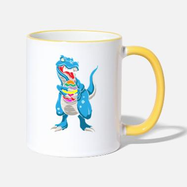 Easter Dinosaur T-Rex Easter Bunny Happy Easter Gift - Two-Tone Mug