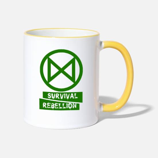 Rebellion Mugs et récipients - Extinction Rébellion - Mug bicolore blanc/jaune