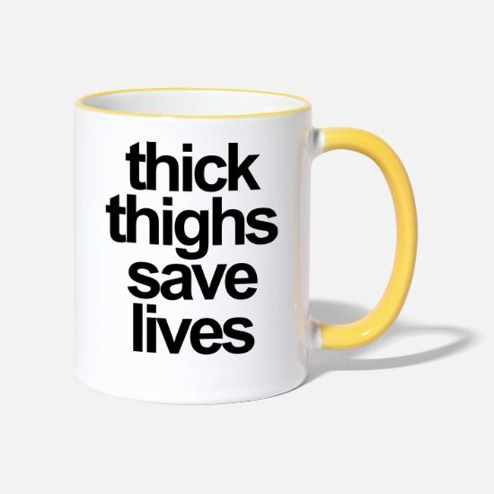 Thick Mugs & Drinkware - thick thighs save lives - Two-Tone Mug white/yellow